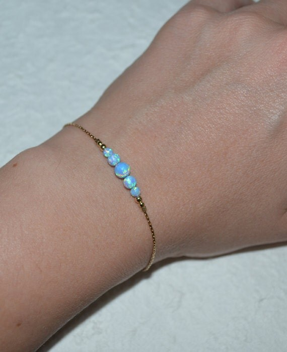Blue Opal Bracelet, Opal Jewelry, opal ball/bead bracelet, opal gold bracelet, simple/elegant tiny dot horizontal bar bracelet