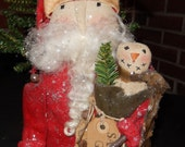 Santa with Snowman in Sack - 9.5 x 7 inches   READY TO SHIP