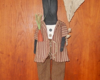Prim Bunny with Kite - 25 inches tall to the tip of his ears - Ready to Ship