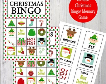 Printable Christmas Bingo & Memory Game - Instant Download - 20 Bingo Cards, 20 Calling Cards, 20 Memory Card Pairs, 2 Backgrounds  - Dots