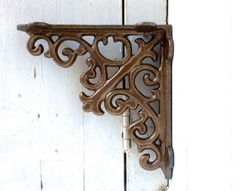 Iron Brackets, Iron Shelf Brackets, Shelving Brackets, Shelf, Shelf Decor, Bronze, Metal Brackets, Cast Iron, Elegant, Iron Shelf Bracket