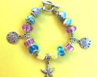 6-Starfish Beachy  PAND*RA Style Charm Bracelet