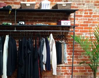 """96"""" Black Steel Pipe + Wood Clothing Rack System"""