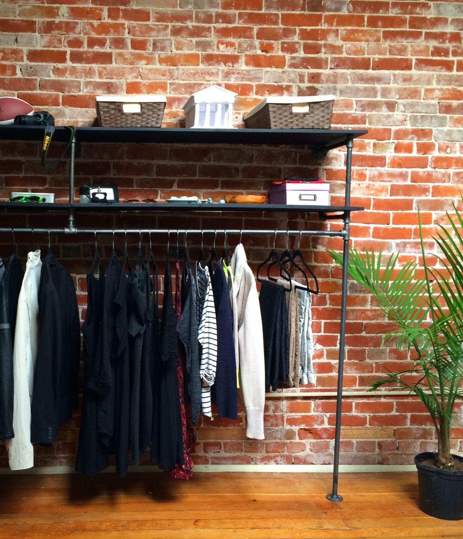 96 black steel pipe wood clothing rack system. Black Bedroom Furniture Sets. Home Design Ideas