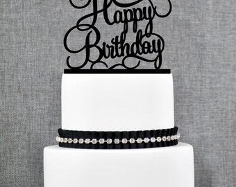 Happy Birthday Cake Topper, Script Happy Birthday Cake Topper, Elegant Happy Birthday Topper- (T135)