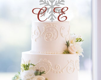 Snowflake Monogram Wedding Cake Topper, Custom Two Initials and Snowflake Topper- (T103)