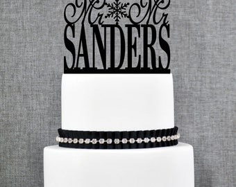 Same Sex Wedding Cake Topper with Snowflake, Custom Same Sex Cake in scripted font, Mr and Mr topper, Mrs and Mrs Cake topper- (T021)