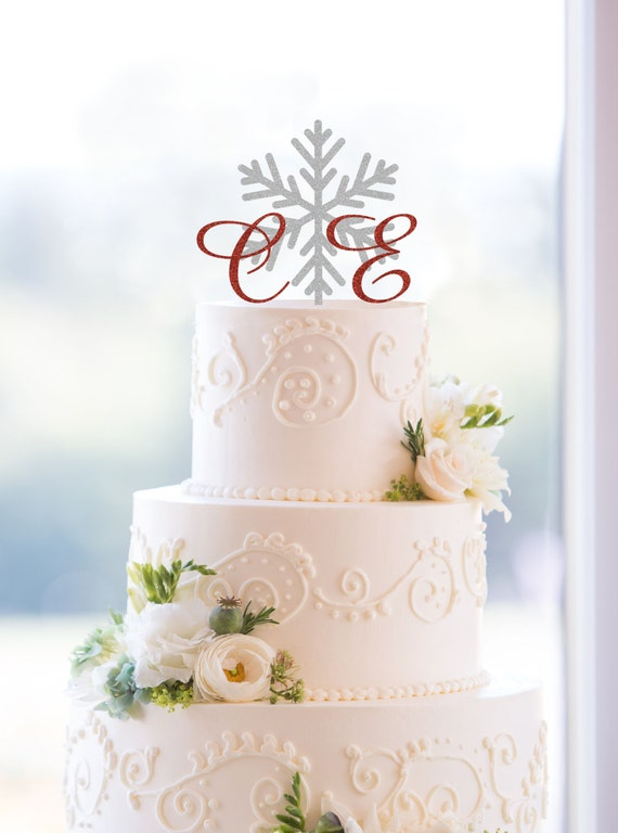 wedding cake monogram snowflake monogram wedding cake topper custom two initials 23274