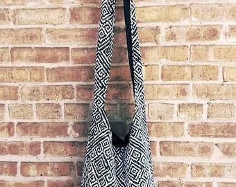 Crossbody Sling Bag - Black Diamond Print - Hobo bag