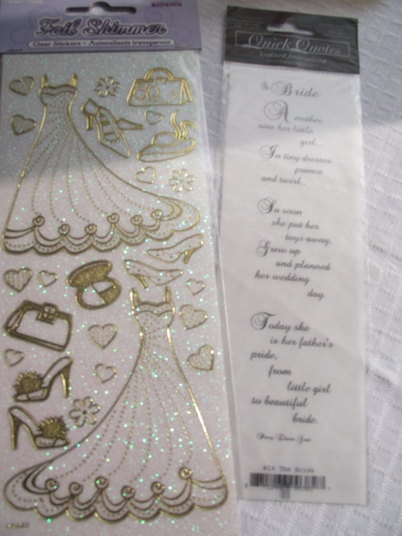 WEDDING Stickers And Bride PoemRub On Bride By KornerCraftSupply