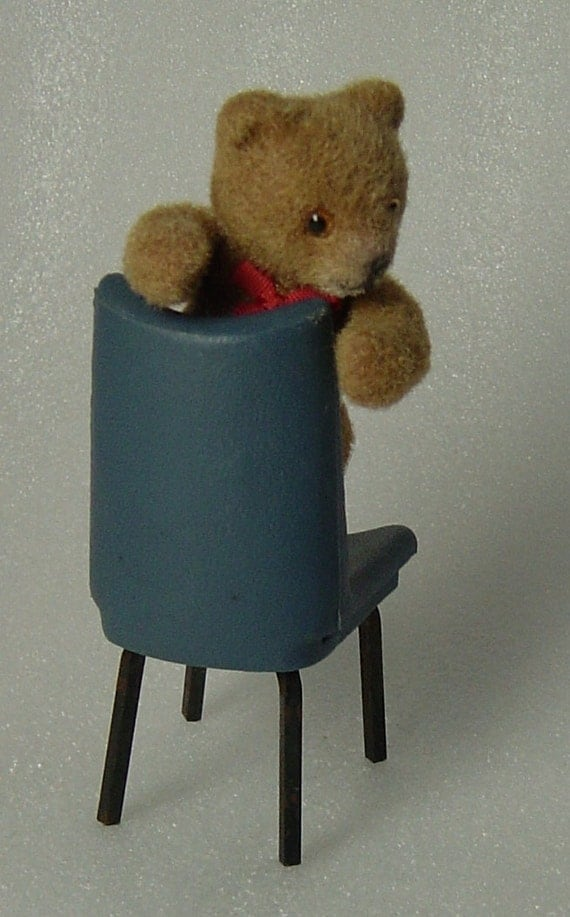 vintage 60s miniature teddy bear with blue chair. Black Bedroom Furniture Sets. Home Design Ideas