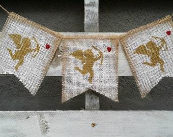 Valentines Cupid Burlap Banner, Valentines Burlap Banner, Valentines Photo Prop, Cupid Banner, Cherub Burlap Banner, Valentines Wedding