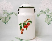 Cherry Milk Can / 1950's Enamel Chipped up Soviet Vintage Milk Canister with Lid / Ukraine Mid Century Home Decor, Pastel Botanical Print