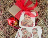 Christmas Gift Tag featuring a Vintage Victorian Santa. Set of 8.