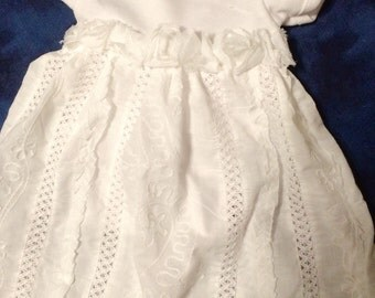White baby blessing dress, onsie baby dress