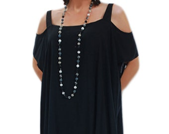 Plus Size Clothing | Women's Open Shoulder Tunic Top, 2 Sizes for the Full Figured Woman