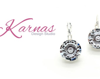 SMOKY MAUVE VISION 12mm Crystal Drop Leverback Earrings Made With Swarovski Elements *Pick Your Finish *Karnas Design Studio *Free Shipping*