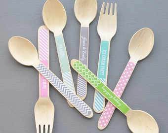 Wooden Utensils -  Wooden Party Spoons - Personalized Wooden Spoons - Personalized Wooden Forks - Ice Cream Spoons - (EB3065P) set of 24