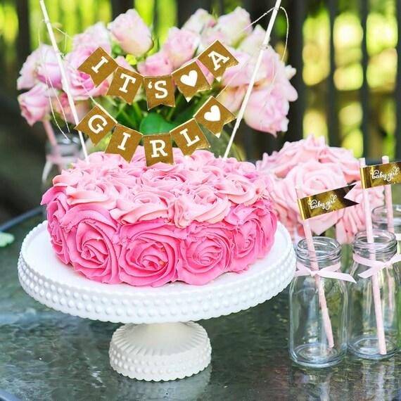 baby girl cake topper gold baby shower cake banner baby girl cakes