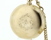 14K Gold Elgin Pocket Watch with Chain and Fob