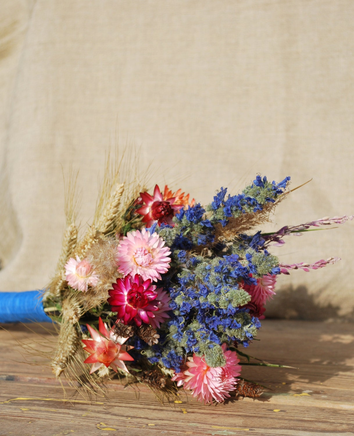 Tall Dried Bouquet Of Blue Pink Purple Flowers Wheat
