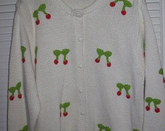 Eagles Eye cherries in the snow white cardigan XL cheery cherries