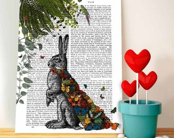 Hare Print & Butterfly Cloak: Wall Art Print wall decor hare picture wall hanging dorm decor hare print illustration dorm decor gift for her
