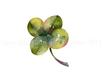 Four Leaf Clover Clip Art Good Luck Clipart Watercolour Card Making and Digital Scrapbooking