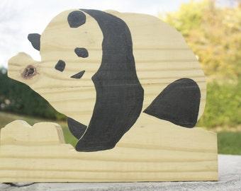 Wooden Resting Panda Bear Art