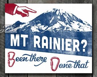 Mt Rainier Print - PRINTABLE Mount Rainier Poster - Mountain Climbing Art - Mountain Climber Gifts - Retro Vintage Rainier Mountains Print