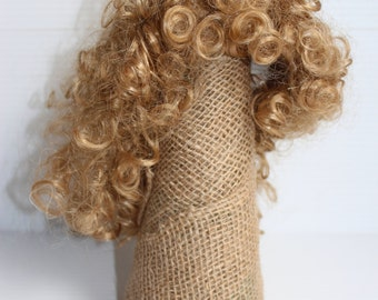 """Curly Hair DOLL WIG, Doll wig with curls, Light Brown Curly wig, Doll making supplies, 14"""" wig for doll,curly hair doll Supply,hair for doll"""