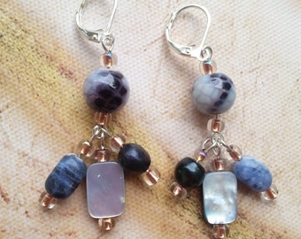 Blue Gray Mixed Stone, Shell, and Pearl Dangle Earrings