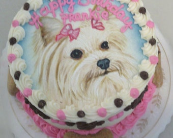 "Dog Birthday Cake - 6"" Handpainted Pet Portrait Cake (Serves about 8)"