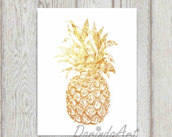 Gold Pineapple printable Gold foil Pineapple wall art print Gold white kitchen decor 5x7, 8x10 Hospitality Poster art Gift idea DOWNLOAD