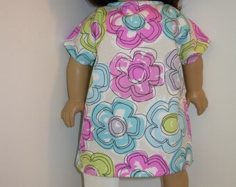 DOLL Hospital Gown- Fits All Dolls, 18 Inch Dolls, 15 inch Bitty Baby Clothes/Twin, Super Cute Pastel Flowers, Let's Pretend Doc McStuffins!