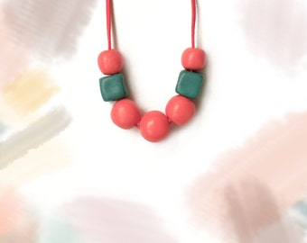 SALE! Clay beads necklace, chunky necklace, long necklace, coral beads necklace, teal beads necklace, statement necklace, summer necklace