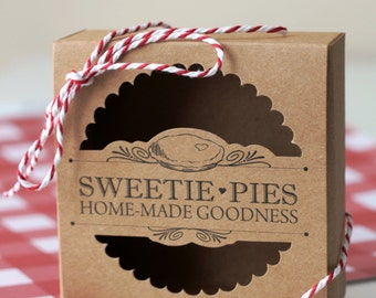 "Kraft Mini Pie Boxes - Set of 10 Pie Box, ""Sweetie Pies"" Tart Box with Twine"