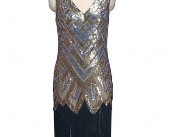 Metallic 1920's LA BANDE Beaded Flapper Gatsby Gown by The Deco Haus