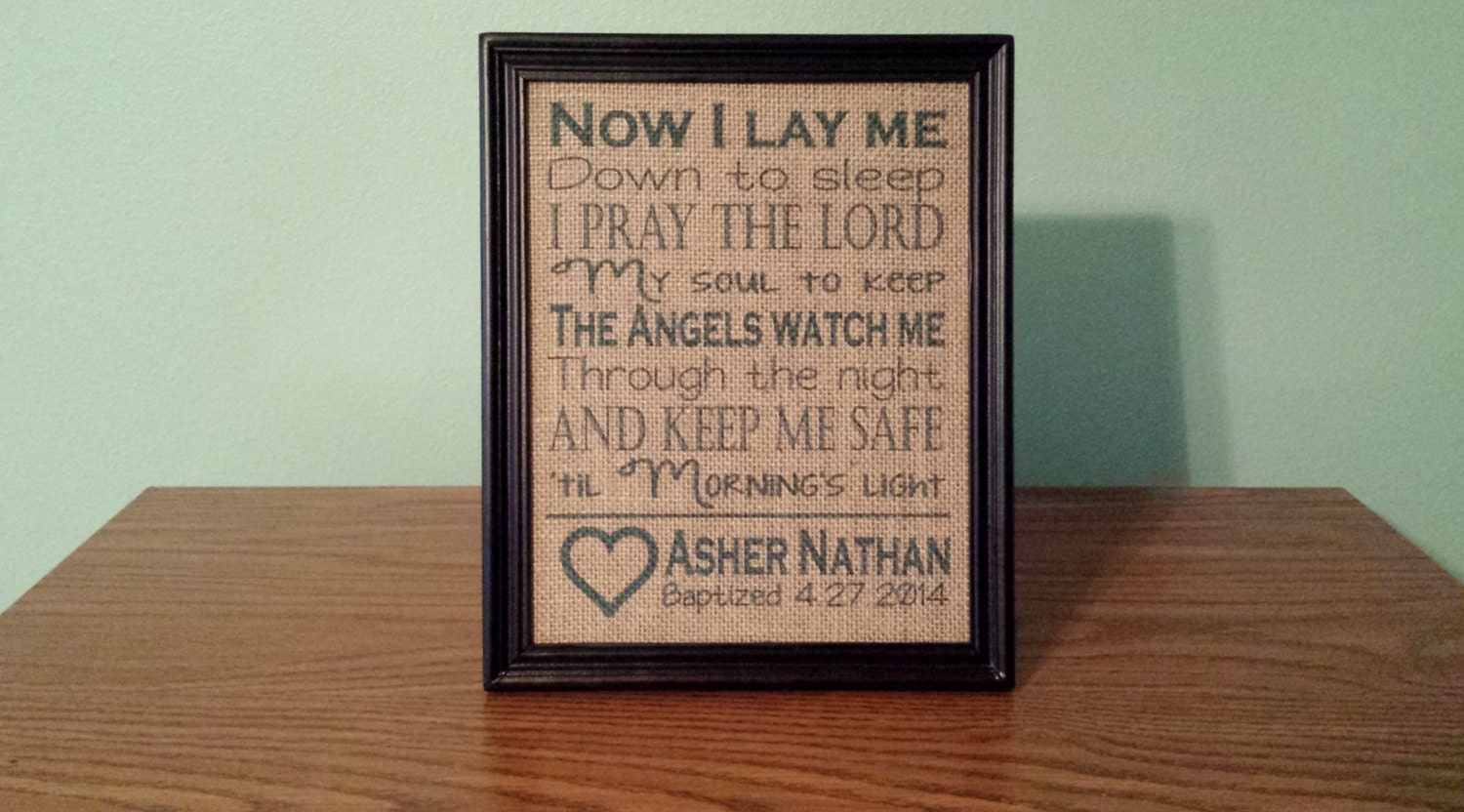 framed burlap print baptism frame gift for child childs prayer dedication christening now i lay me down to sleep 8x10