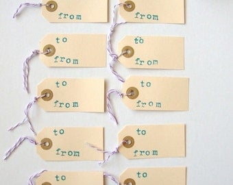 Parcel Tags, Gift tags, set of 10 hand stamped manilla heart parcel tag with bakers twine