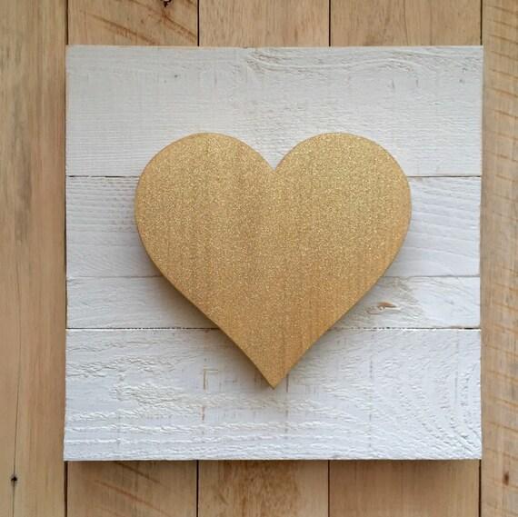 Wooden Heart Sign - Wooden Glitter Heart | Valentines Decor