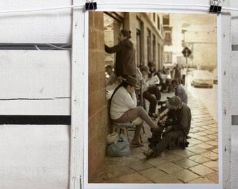 """Shoemaker. Cusco, Peru, street photography for wall decor, Sepia photo  for vintage effect 18 x 24 cm (7,08 x 9,44"""")"""