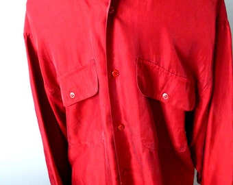 Hipster Red Silk Fashion Shirt / Blouse -Small - Unisex Vintage Sandwashed Silk Shirt - Boho-Hustle Disco Retro Vintage 80s 70s Style