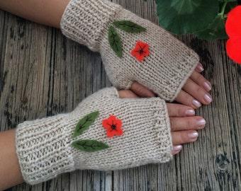 Beige Fingerless Gloves Felt Flowers Embroidered Gloves Cozy Mittens Handknit Gloves Handwarmer Valentine's Day's Gift  Nicknacky