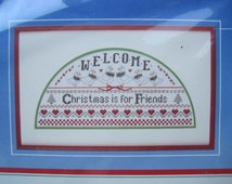 "Cross Stitch Kit - Christmas Welcome - Dimensions #8333 - 14"" x 7"" - NEW NIP - Vintage 1986"