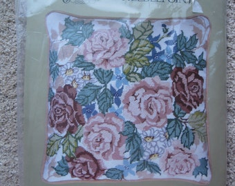 "Needlepoint Kit  - Roses Pillow - Something Special Candamar Designs - 14"" x 14"" - NEW NIP"