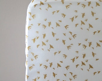Golden Birds - Fitted Crib Sheet - metallic gold and white