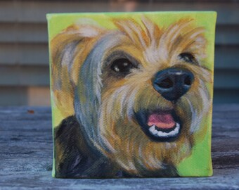"""4"""" x 4"""" Yorkie Painting On Canvas - The Best Gift For A Yorkie Lover!"""