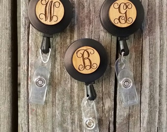 Set of Three Monogram Retractable Badge Holder - Engraved Wooden Retractable Badge Reel