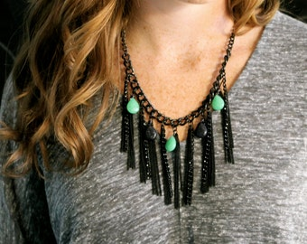 Green and Black Chain Fringe Necklace